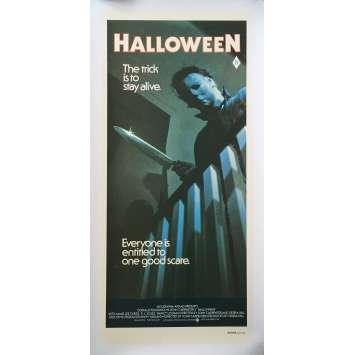 HALLOWEEN Ultra-Rare Affiche de film Australienne ENTOILEE - 33x78 cm. - 1978 - Jamie Lee Curtis, John Carpenter