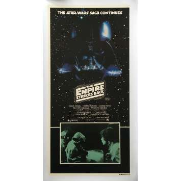 STAR WARS - L'EMPIRE CONTRE ATTAQUE Affiche de film entoilée - 33x78 cm. - 1980 - George Lucas, Rare !