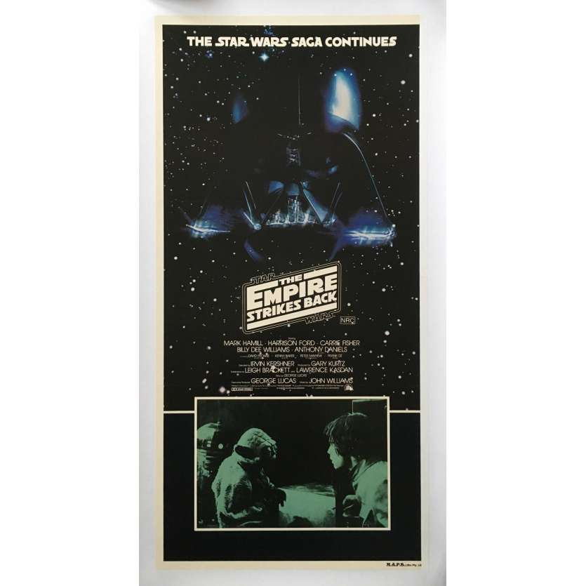 STAR WARS - L'EMPIRE CONTRE ATTAQUE Affiche de film entoilée - 33x78 cm. - 1980 - George Lucas, Rare !