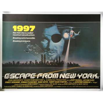 NEW-YORK 1997 Affiche de film Anglaise ENTOILEE - 1981 - Kurt Russel, John Carpenter, RARE!
