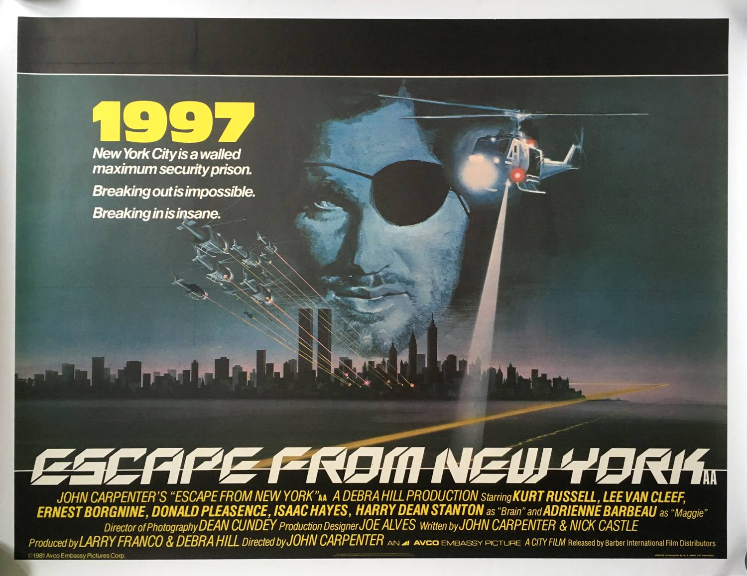 Escape From New York Poster.Escape From New York Movie Poster 30x40 In