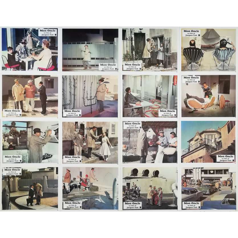 MON ONCLE Original Lobby Cards x16 - 10x12 in. - 1958 - Jacques Tati, Jean-Pierre Zola