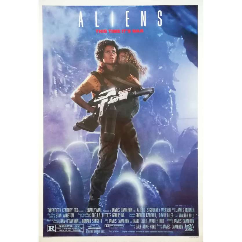 ALIENS Original Recalled Movie Poster - 27x40 in. - 1986 - James Cameron, Sigourney Weaver
