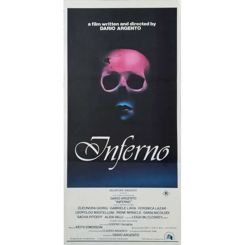 INFERNO Affiche de film - 33x78 cm. - 1980 - Daria Nicolodi, Dario Argento