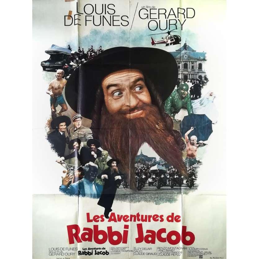 LES AVENTURES DE RABBI JACOB Affiche de film - 120x160 cm. - 1973 - Louis de Funès, Gérard Oury