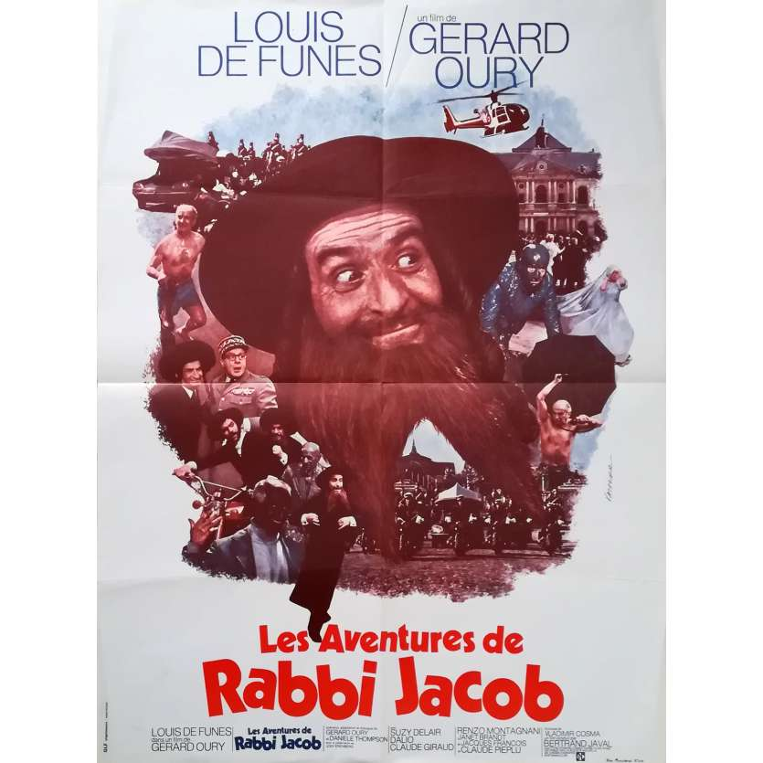 LES AVENTURES DE RABBI JACOB Affiche de film - 60x80 cm. - 1973 - Louis de Funès, Gérard Oury