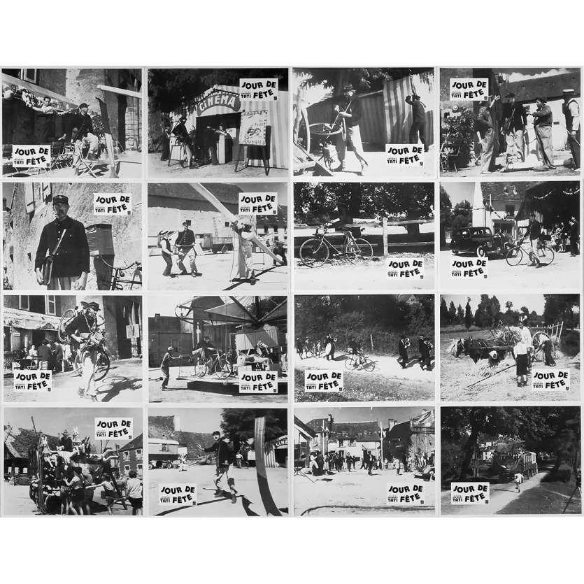 JOUR DE FETE Original Lobby Cards x16 - 9x12 in. - R1970 - Jacques Tati, Paul Frankeur