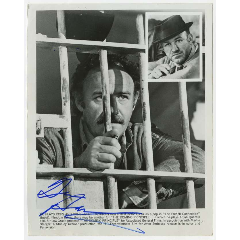 THE DOMINO PRINCIPLE Original Signed Photo - 8x10 in. - 1975 - Stanley Kramer, Gene Hackman