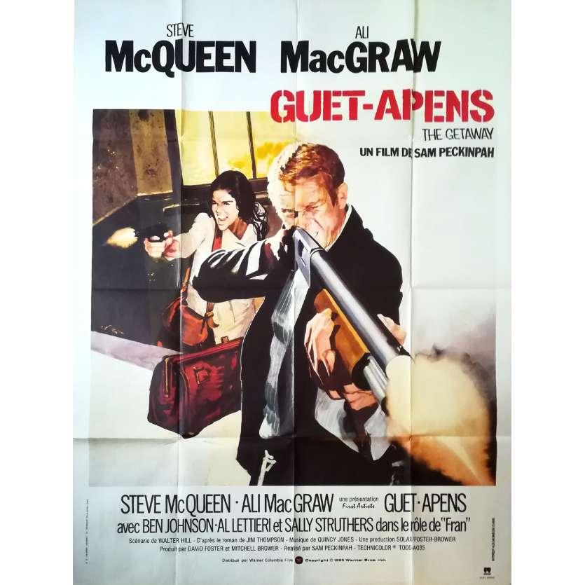 GUET-APENS Affiche de film - 120x160 cm. - R1980 - Steve McQueen, Sam Peckinpah