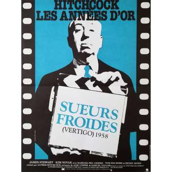 SUEURS FROIDES Affiche de film - 40x60 cm. - R1980 - James Stewart, Alfred Hitchcock