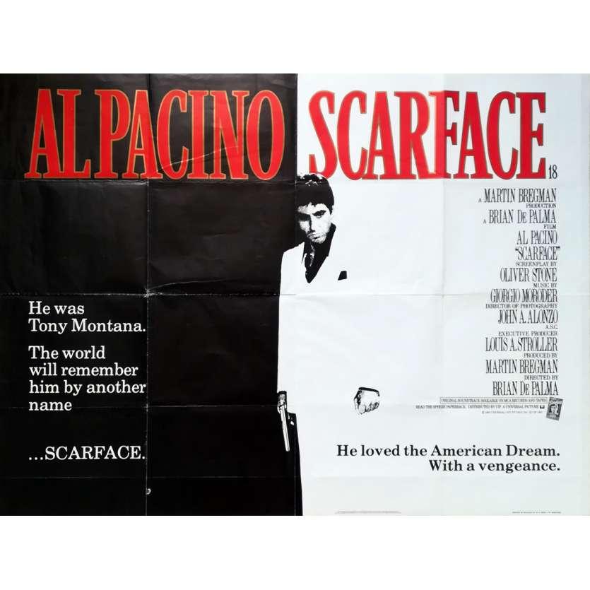 SCARFACE Original Movie Poster - 30x40 in. - 1983 - Brian de Palma, Al Pacino