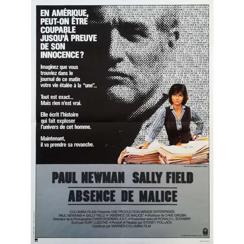 ABSENCE OF MALICE Movie Poster - Original French One Panel