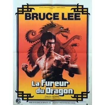LA FUREUR DU DRAGON Affiche de film Orange - 60x80 cm. - 1972 - Bruce Lee, Chuck Norris, Bruce Lee