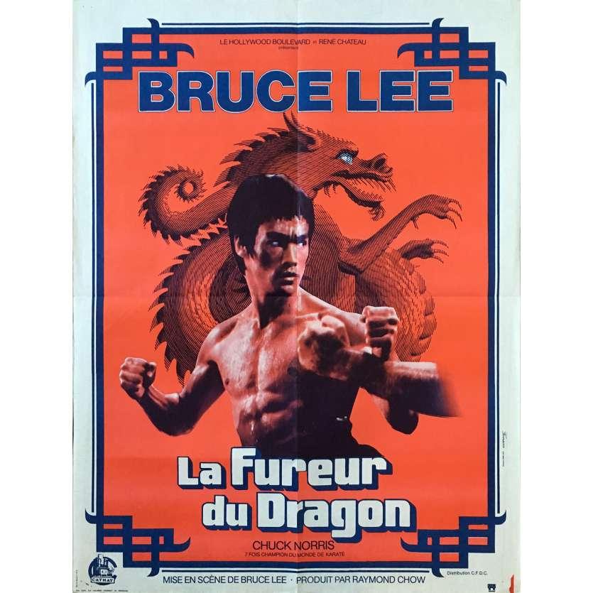 LA FUREUR DU DRAGON Affiche de film Rouge - 60x80 cm. - 1972 - Bruce Lee, Chuck Norris, Bruce Lee