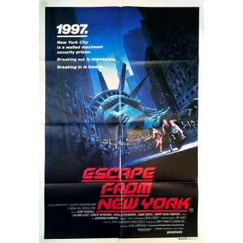ESCAPE FROM NEW-YORK Original Movie Poster - 29x40 in. - 1981 - John Carpenter, Kurt Russel