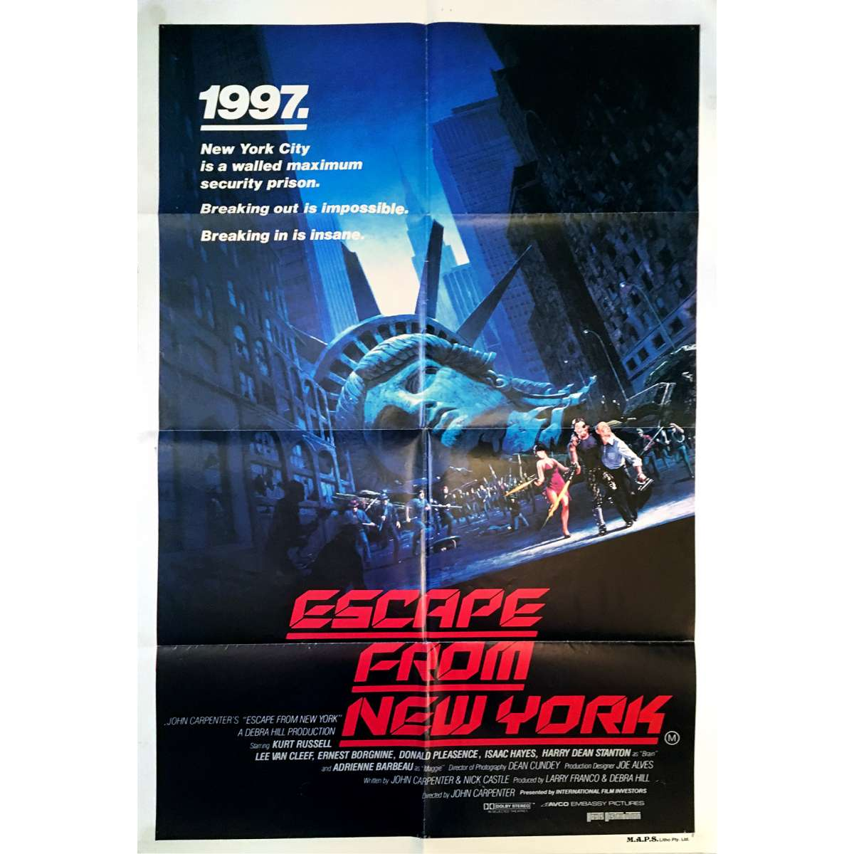 ESCAPE FROM NEW-YORK Movie Poster 29x40 In