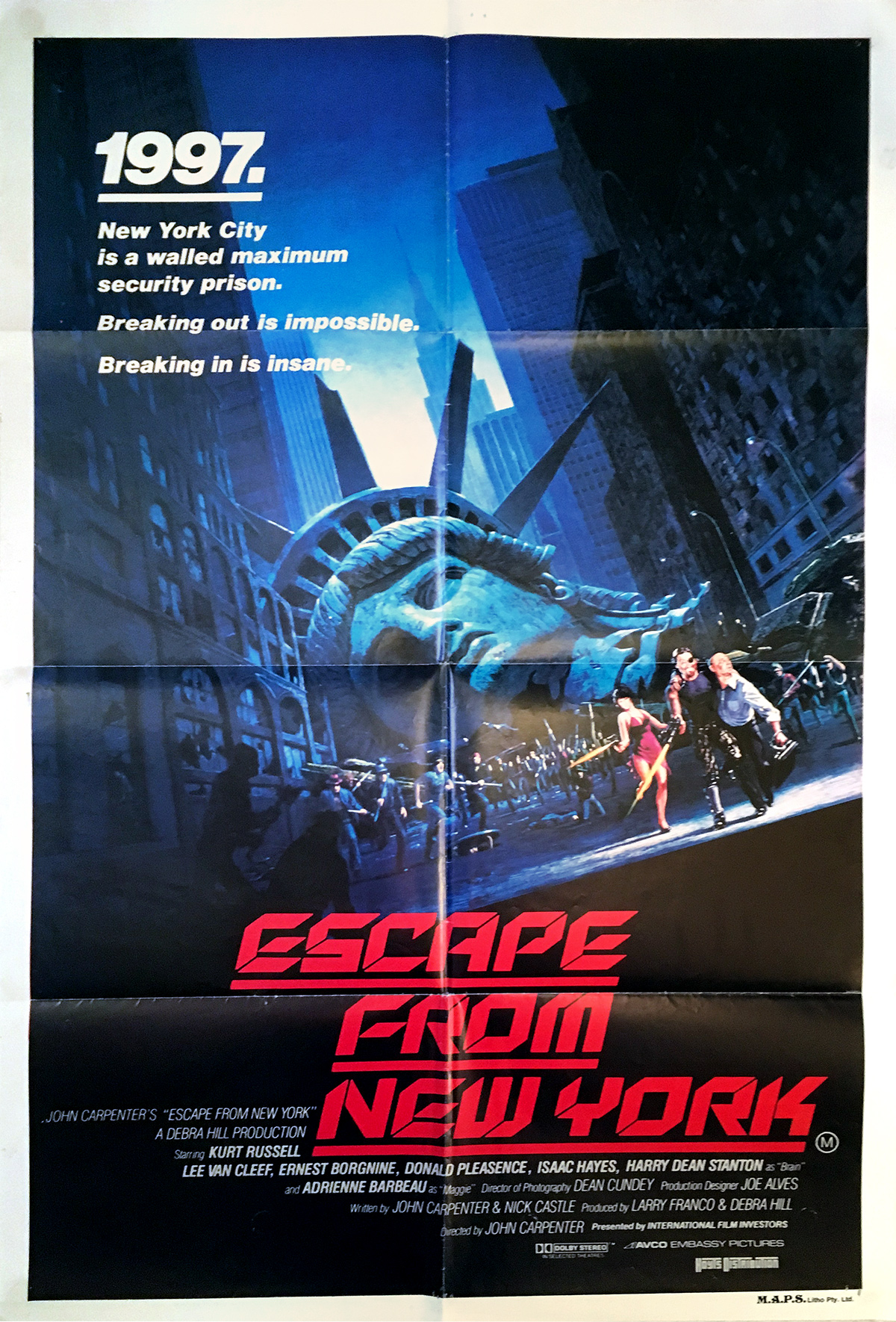 Escape From New York Poster.Escape From New York Movie Poster 29x40 In