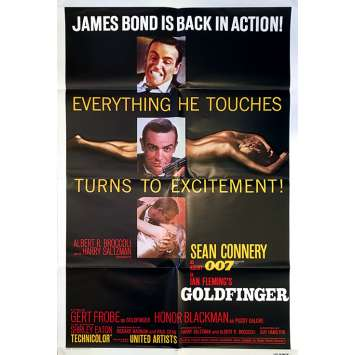GOLDFINGER Original Movie Poster - 27x40 in. - R1980 - Guy Hamilton, Sean Connery