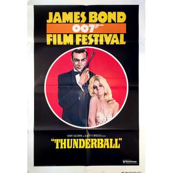 THUNDERBALL Original Movie Poster Festival - 27x40 in. - R1970 - James Bond, Sean Connery
