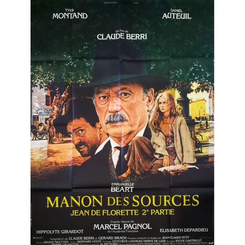 MANON DES SOURCES Affiche de film 120x160 - 1986 - Yves Montand, Claude Berri