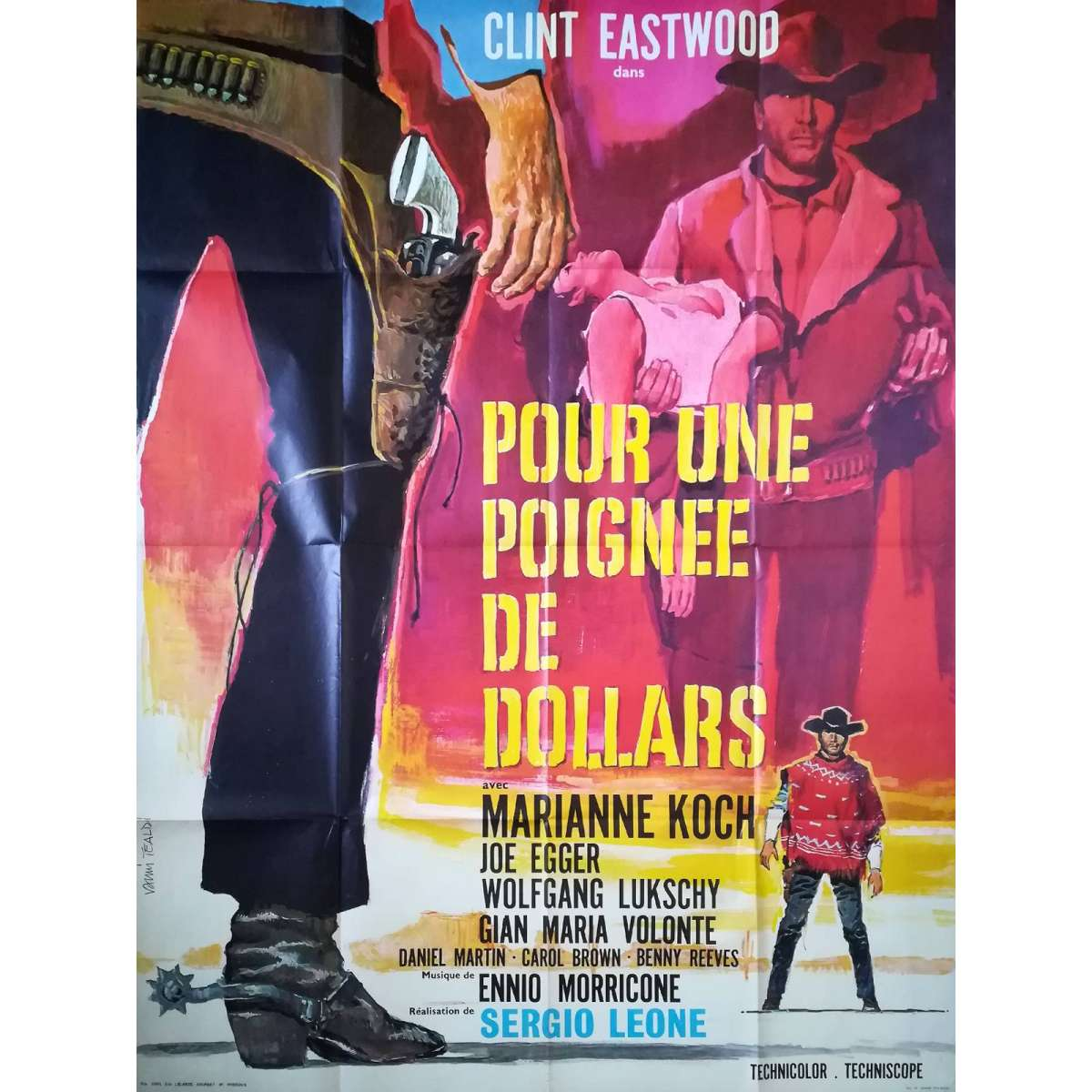 FISTFUL OF DOLLARS French Movie Poster - 47x63 in  R70 - Sergio Leone Clint  Eastwood