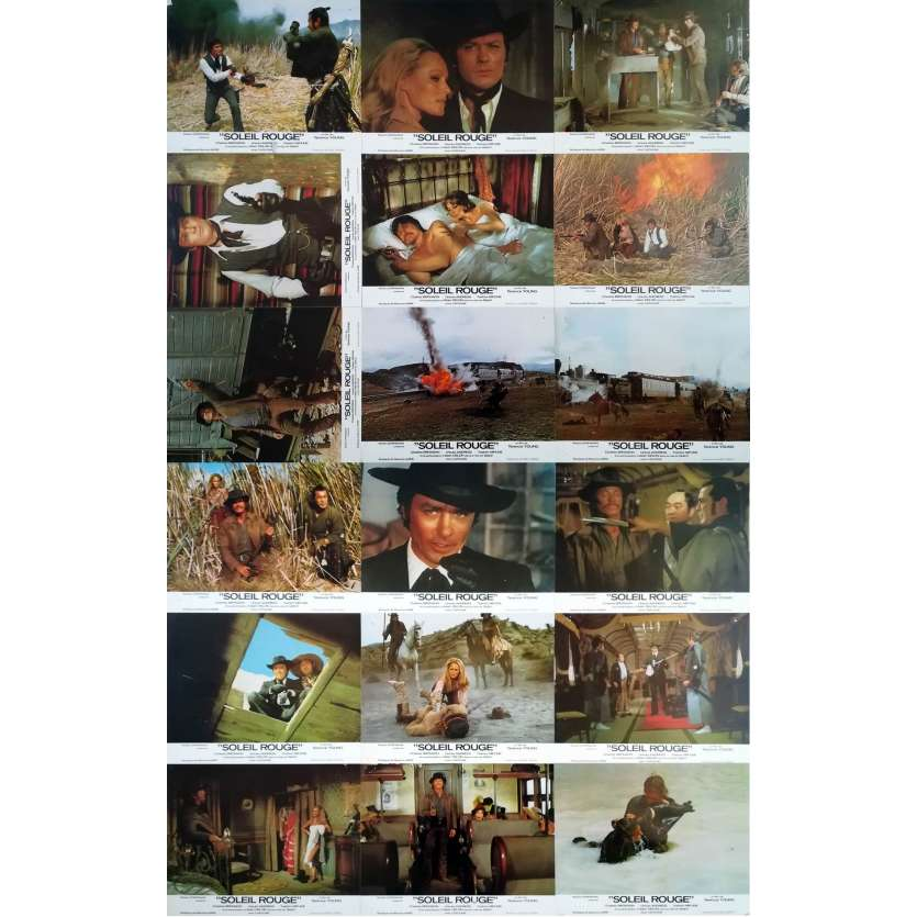 RED SUN Original Lobby Cards x18 - 9x12 in. - 1971 - Terence Young, Alain Delon