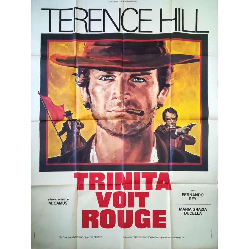 TRINITY SEES RED Original Movie Poster - 47x63 in. - 1970 - Mario Camus, Terence Hill