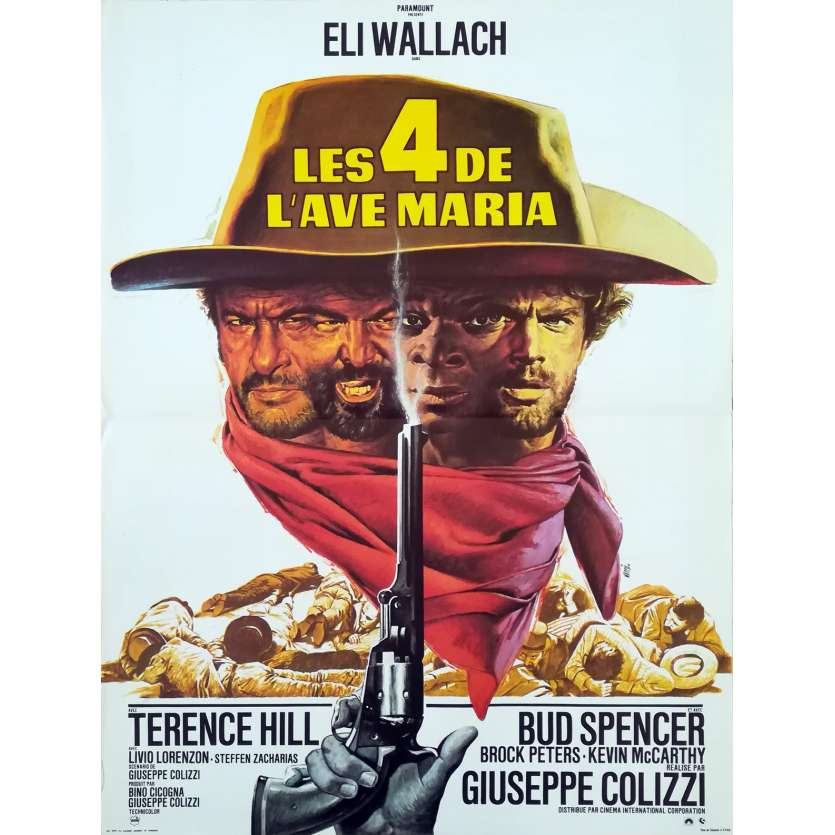 LES 4 DE L'AVE MARIA Affiche de film 40x60 - 1968 - Terence Hill Bud Spencer western spaghetti
