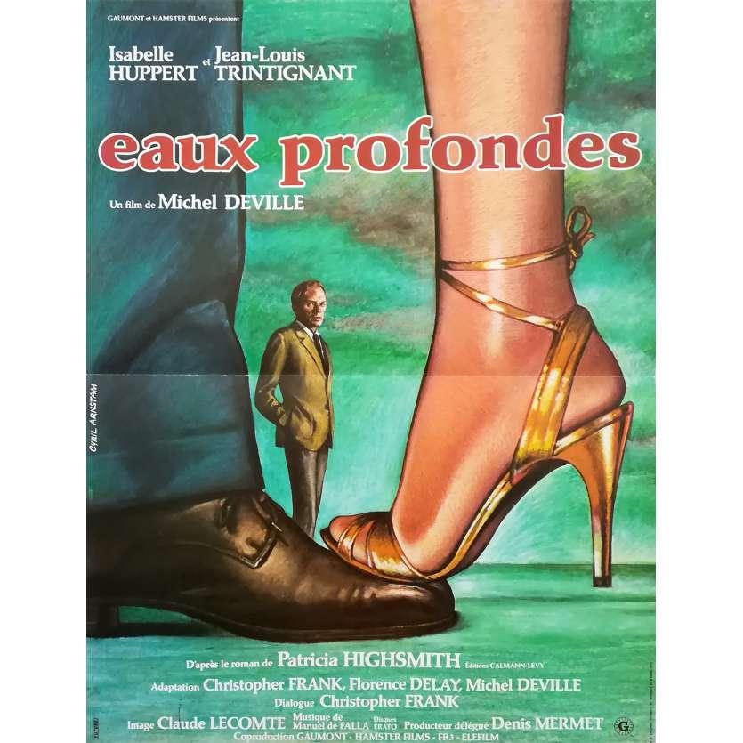 EAUX PROFONDES Affiche de film 40x60 - 1981 - Hupert, Trintignant, Deville