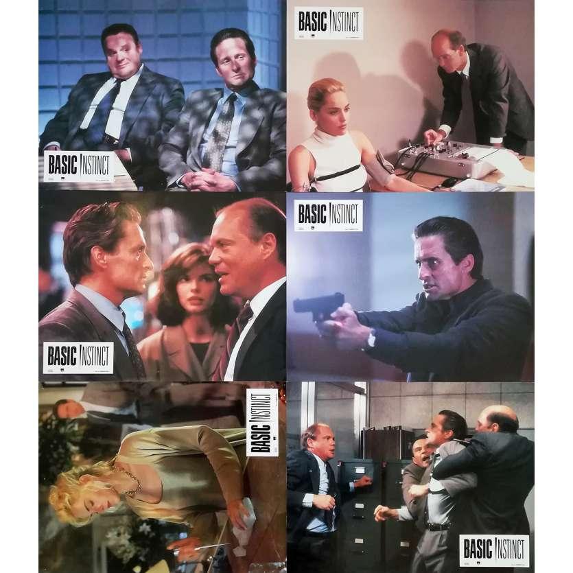 BASIC INSTINCT Original Lobby Cards x6 - 9x12 in. - 1992 - Paul Verhoeven, Sharon Stone