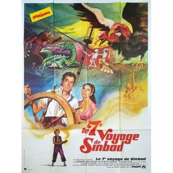 LE 7E VOYAGE DE SINBAD Affiche de film 120x160 cm - 1975 - Kervin Mathews, Ray Harryhausen