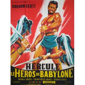 THE BEAST OF BABYLON AGAINST THE SON OF HERCULES Original Movie Poster Litho - 47x63 in. - 1963 - Siro Marcellini, Gordon Scott