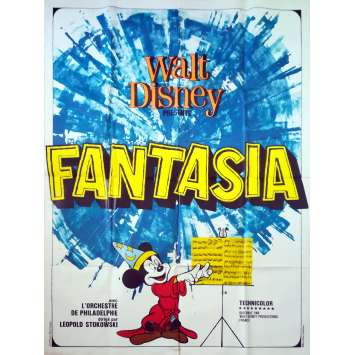 FANTASIA Affiche de film - 120x160 cm. - R1982 - Deems Taylor, Walt Disney