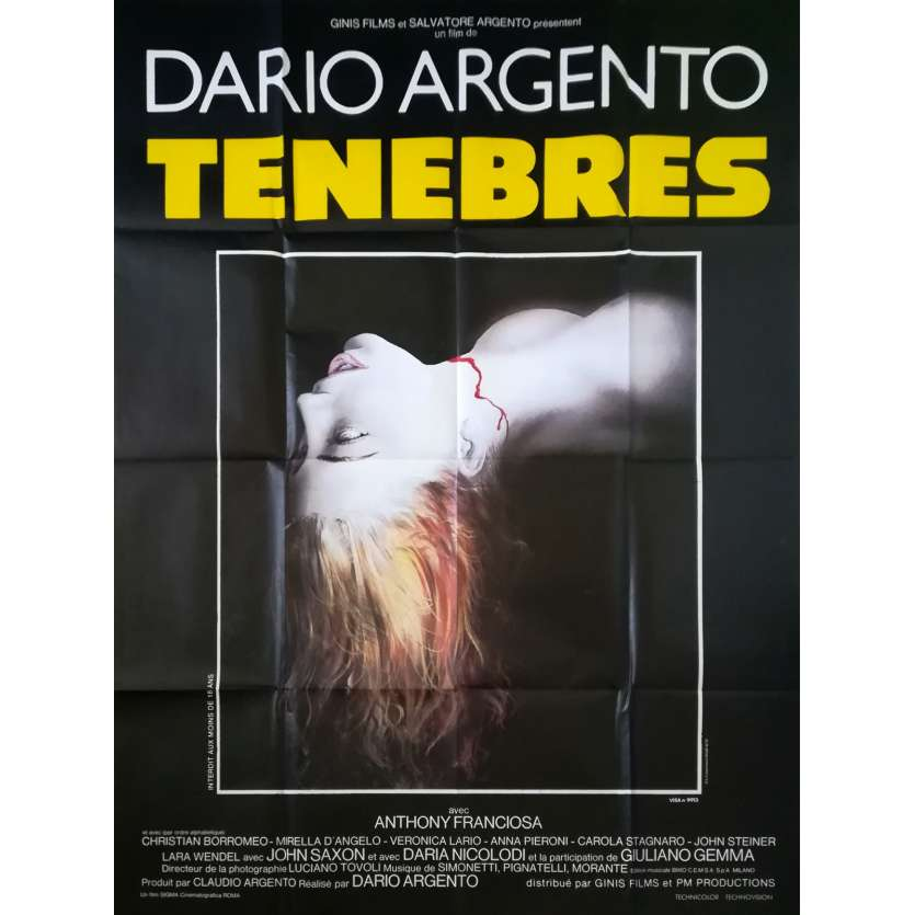 TENEBRE Original Movie Poster - 47x63 in. - 1982 - Dario Argento, John Saxon