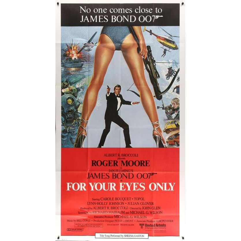 FOR YOUR EYES ONLY Original Movie Poster - 41x81 in. - 1981 - John Glen, Roger Moore