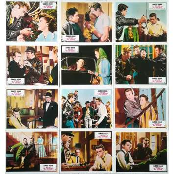 REVEL WITHOUT A CAUSE Original Lobby Cards x12 - 9x12 in. - R1970 - Nicholas Ray, James Dean
