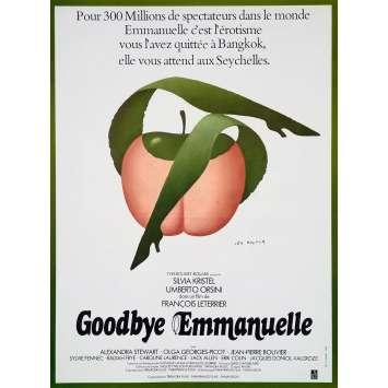 GOODBYE EMMANUELLE Autocollant - 30x40 cm. - 1977 - Sylvia Kristel, François Leterrier