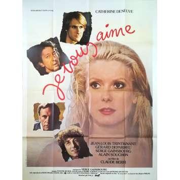 JE VOUS AIME Affiche de film - 120x160 cm. - 1980 - Catherine Deneuve, Claude Berri