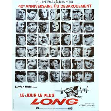 THE LONGEST DAY Movie Poster 23x32 in. French - R1984 - Ken Annakin, John Wayne, Dean Martin