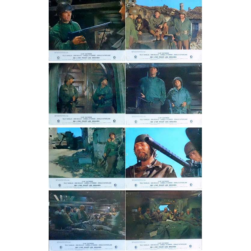 DE L'OR POUR LES BRAVES Photos x8 '70 Clint Eastwood, Donald Sutherland Lobby Cards
