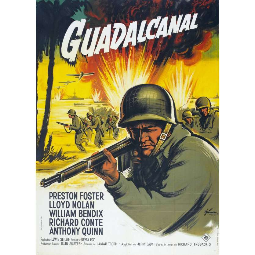 GUADALCANAL French Movie Poster 47x63 '46 FR Anthony Quinn