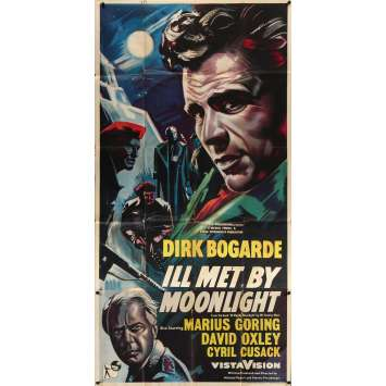 ILL MET BY MOONLIGHT - NIGHT AMBUSH Original Movie Poster - 40x78 in. - 1957 - Powell & Pressburger, Dirk Bogarde