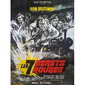 LES 7 BERETS ROUGES Affiche de film - 120x160 cm. - 1969 - Ivan Rassimov, Mario Siciliano