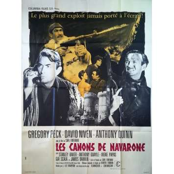 THE GUNS OF NAVARONE Original Movie Poster - 47x63 in. - R1970 - J. Lee Thompson, Gregory Peck, Anthony Quinn