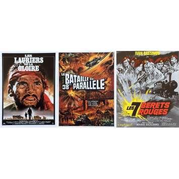 LOT DE 3 SYNOPSIS DE FILMS DE GUERRE - 21x30 cm. - 1969 - lauriers de la gloire