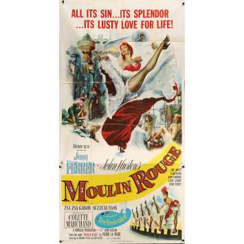 MOULIN ROUGE Rare 3sh Movie poster - 1952 - John Huston, French Cancan