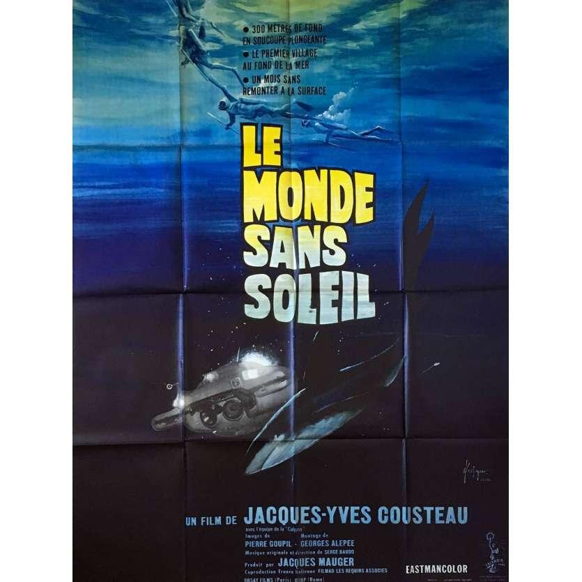 WORLD WITHOUT SUN Afffiche de film - 120x160 cm - 1964 - Cousteau