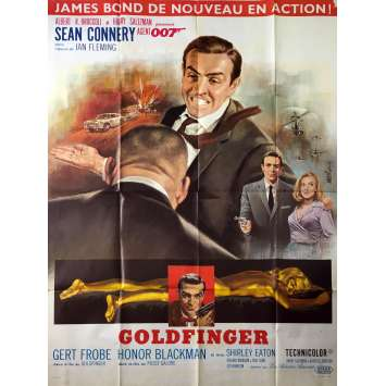 GOLDFINGER Affiche de film - 120x160 cm. - R1970 - Sean Connery, Guy Hamilton