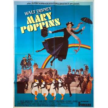 MARY POPPINS Movie Poster 47x63 in. - R1970 - Robert Stevenson, Julie Andrews