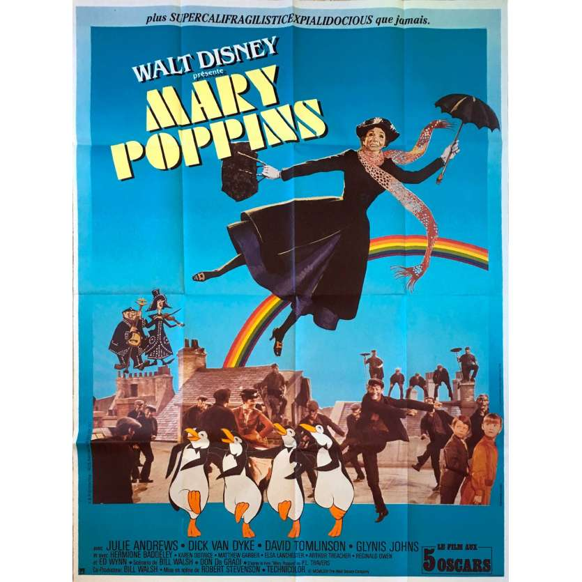 MARY POPPINS Affiche de film 120x160 cm - R1970 - Julie Andrews, Robert Stevenson